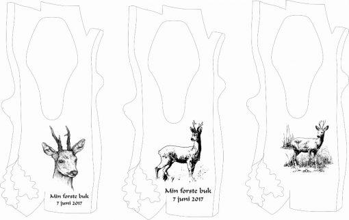 Skandinavisk trofæplade til buk med specialfremstillet motiv