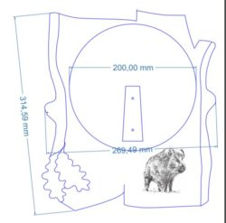 Vildsvineplade i skandinavisk stil med lasergraveret motiv