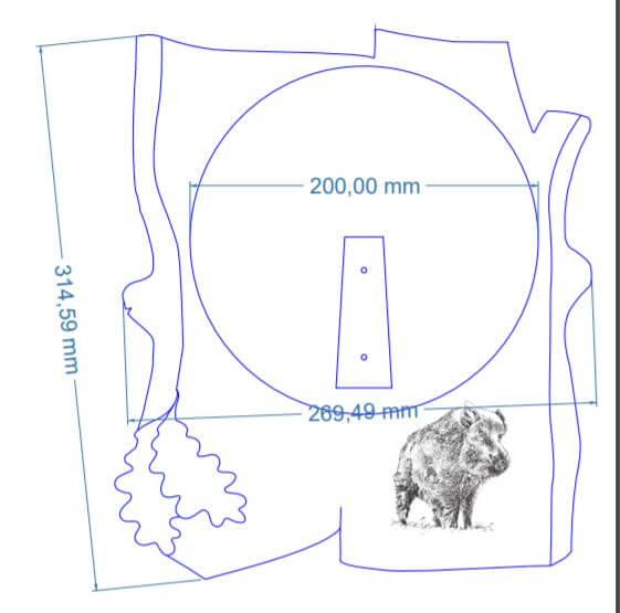 Vildsvineplade i skandinavisk stil med lasergraveret motiv mål