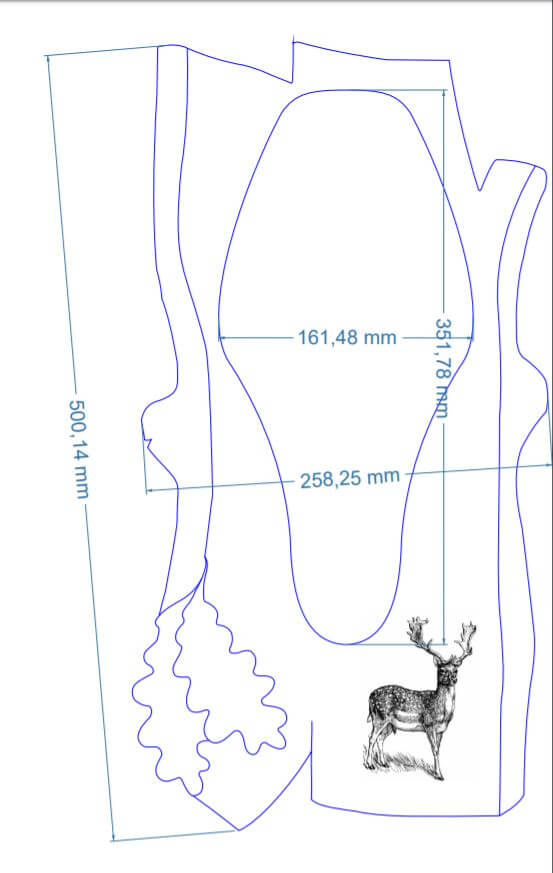 Hjorteplade til dåhjort i skandinavisk stil med lasergraveret motiv med mål