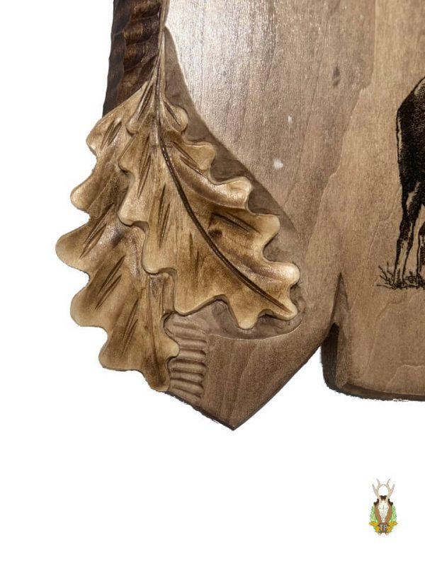 Hjorteplade til kronhjort med egeløv