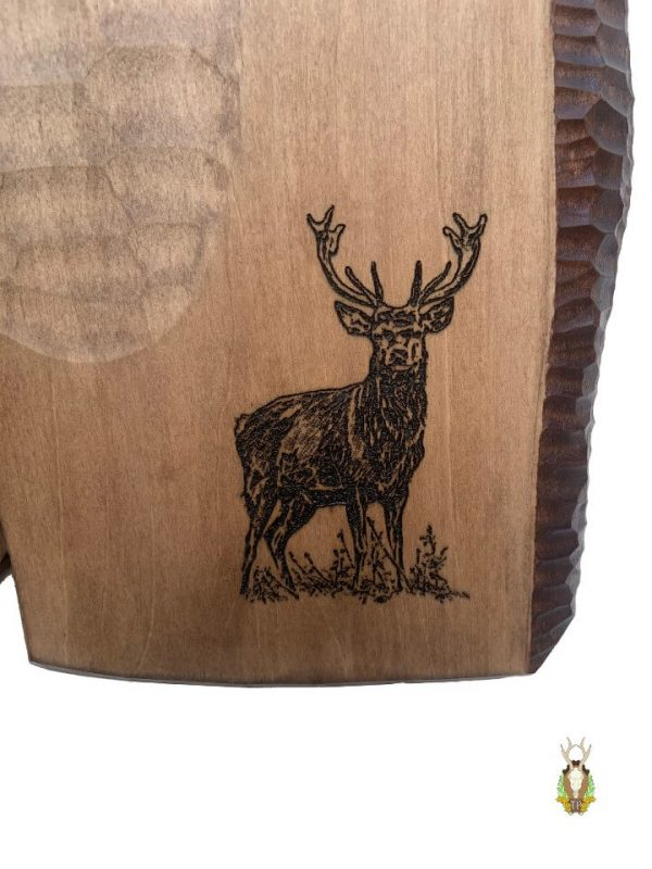 Hjorteplade til kronhjort med med lasergraveret motiv