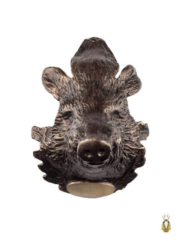 Stort Vildsvinehoved i Bronze til montering af vildsvinetænder se forfra