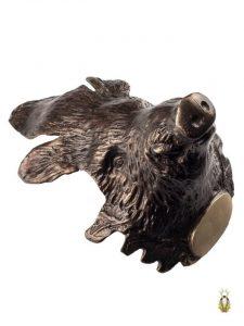 Stort Vildsvinehoved i Bronze til montering af vildsvinetænder